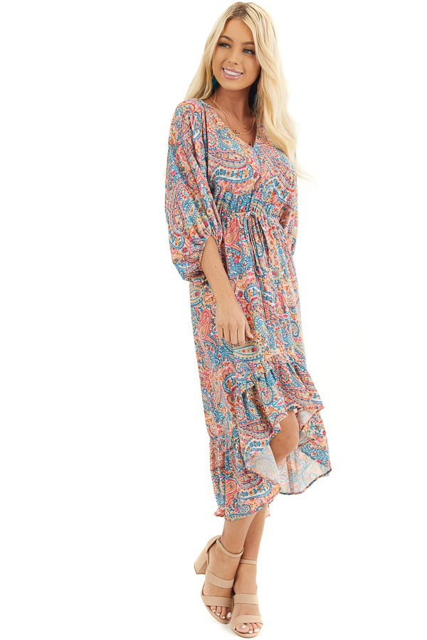Multicolor Paisley Print High Low Dress with Ruffled Hemline front full body