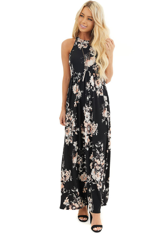 Black Floral Print Halter Maxi Dress with Invisible Pockets front full body