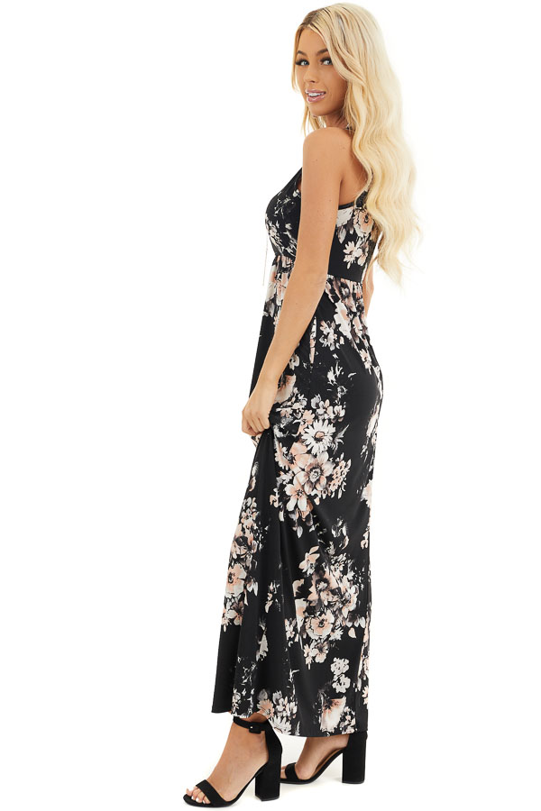 Black Floral Print Halter Maxi Dress with Invisible Pockets side full body