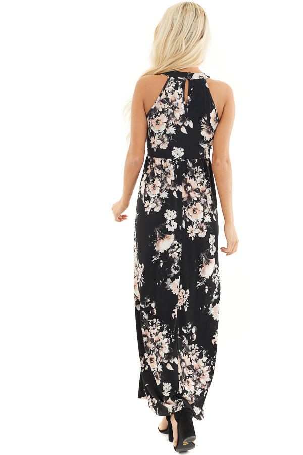 Black Floral Print Halter Maxi Dress with Invisible Pockets back full body