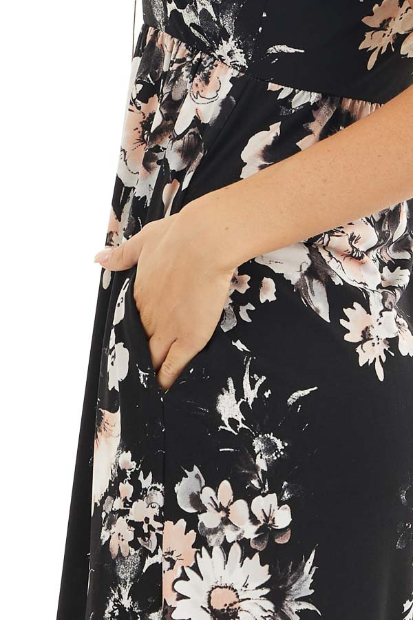 Black Floral Print Halter Maxi Dress with Invisible Pockets detail