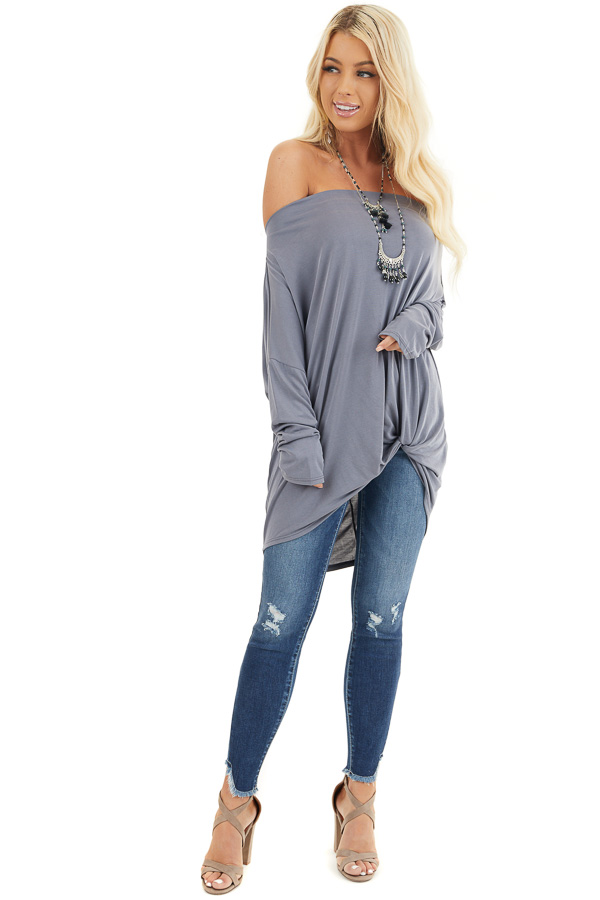 Slate Blue Off the Shoulder Dolman Top with Front Twist front full body