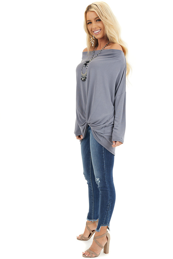 Slate Blue Off the Shoulder Dolman Top with Front Twist side full body