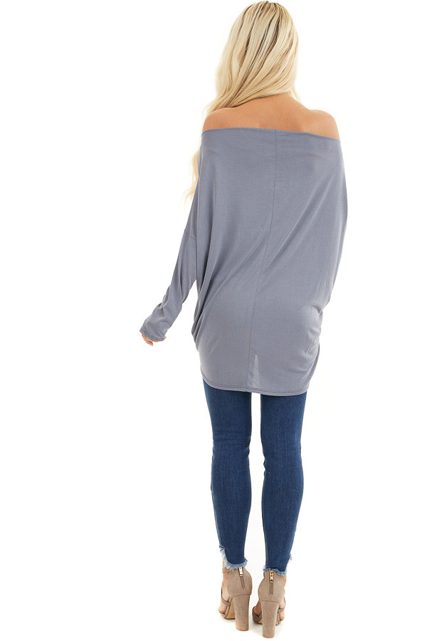 Slate Blue Off the Shoulder Dolman Top with Front Twist back full body