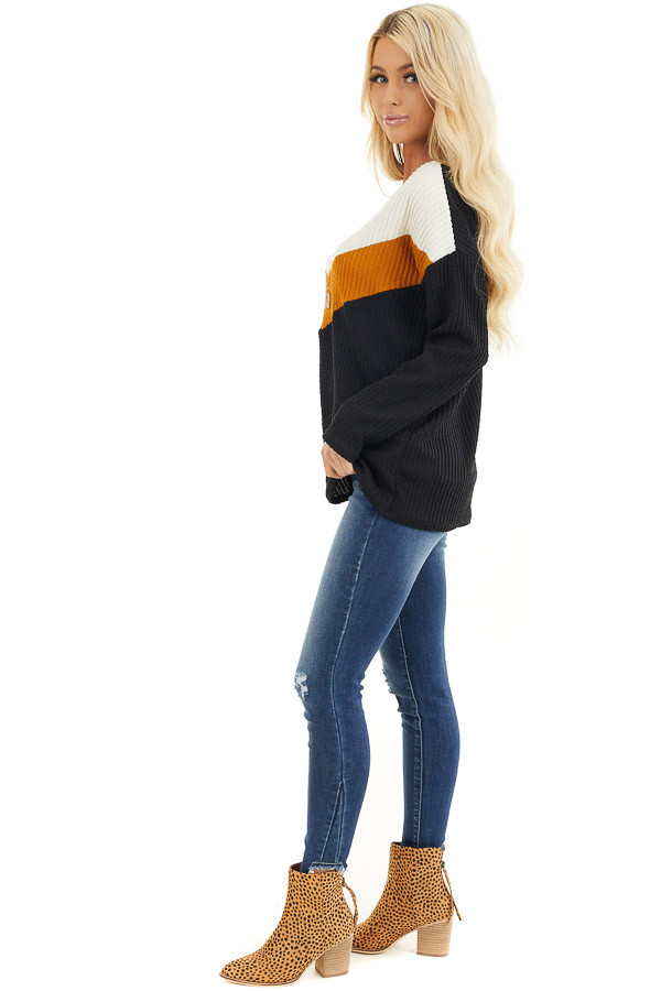 Black Chevron Striped Knit Sweater with Long Sleeves side full body