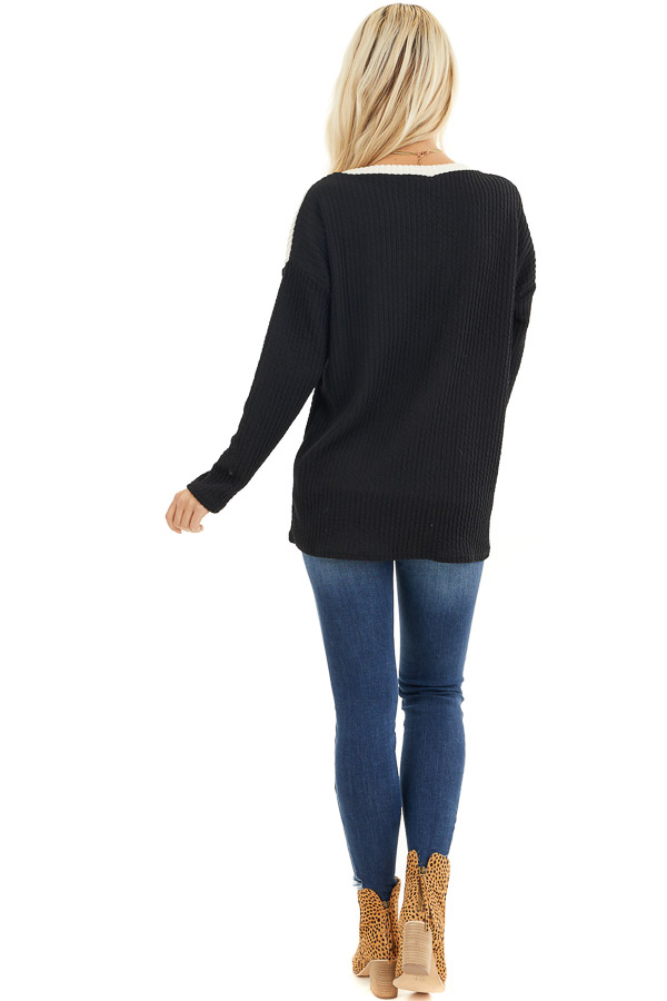 Black Chevron Striped Knit Sweater with Long Sleeves back full body