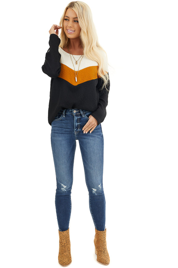 Black Chevron Striped Knit Sweater with Long Sleeves front full body