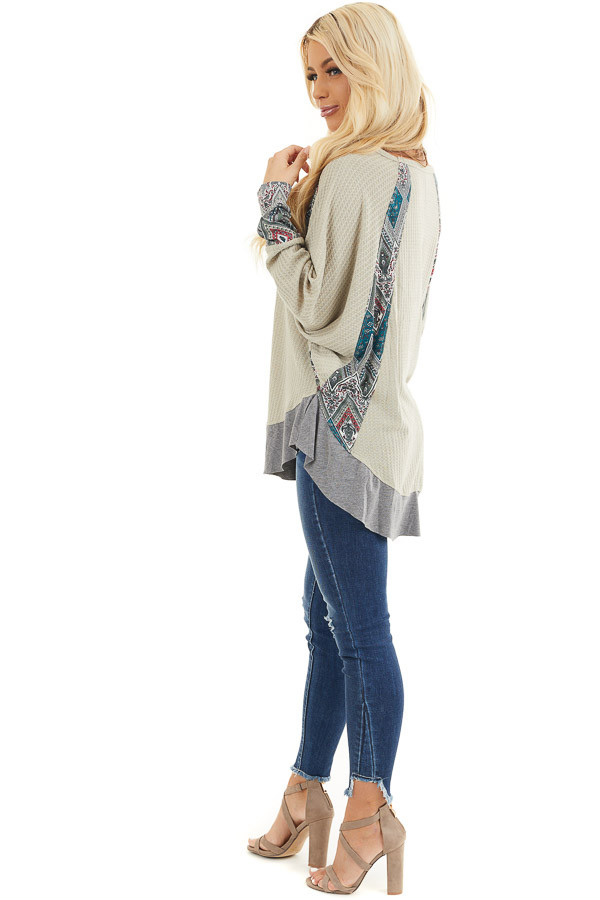 Light Sage Waffle Knit Top with Multiprint Panel Details side full body