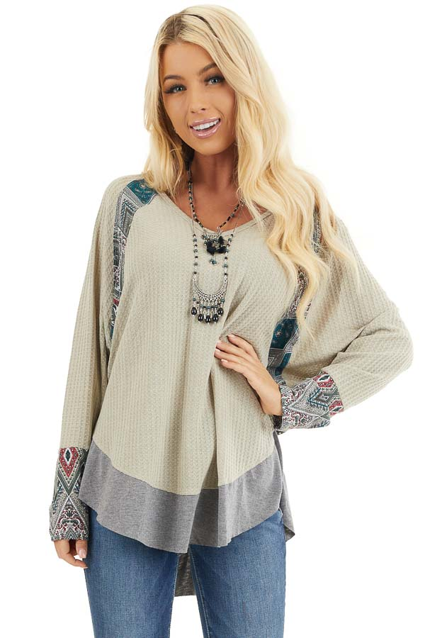 Light Sage Waffle Knit Top with Multiprint Panel Details front close up