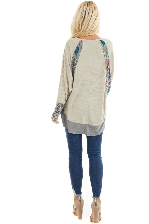Light Sage Waffle Knit Top with Multiprint Panel Details back full body