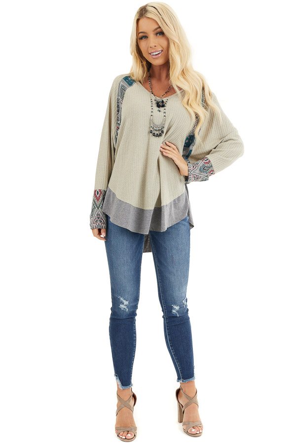 Light Sage Waffle Knit Top with Multiprint Panel Details front full body