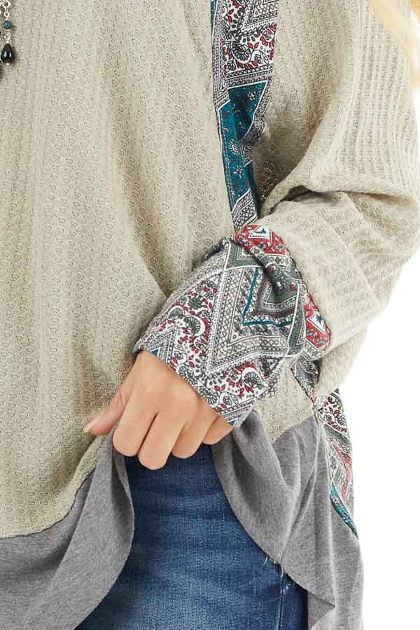 Light Sage Waffle Knit Top with Multiprint Panel Details detail