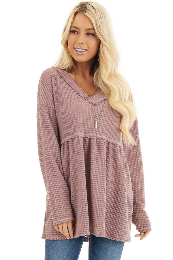 Mauve Drop Waist Waffle Knit Top with Raw Edge Detail front close up