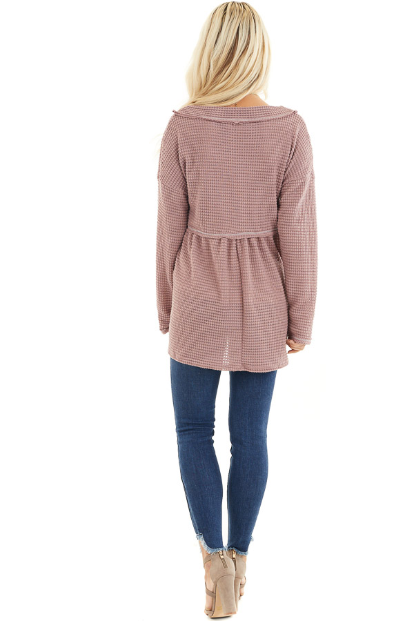 Mauve Drop Waist Waffle Knit Top with Raw Edge Detail back full body