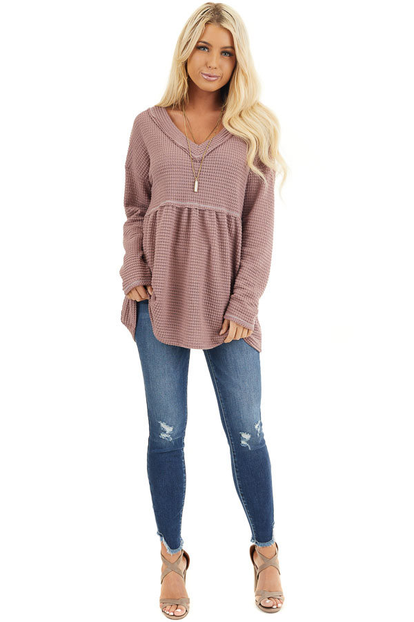 Mauve Drop Waist Waffle Knit Top with Raw Edge Detail front full body