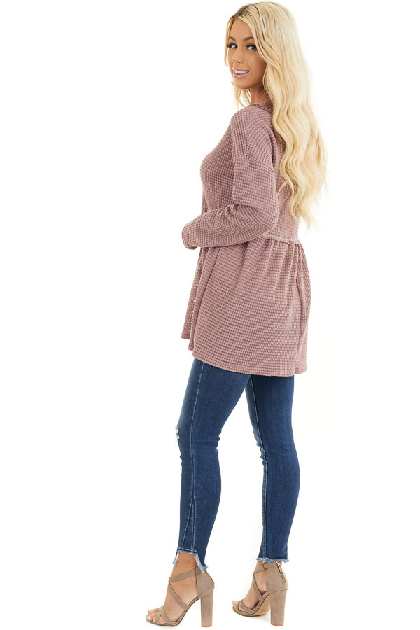 Mauve Drop Waist Waffle Knit Top with Raw Edge Detail side full body