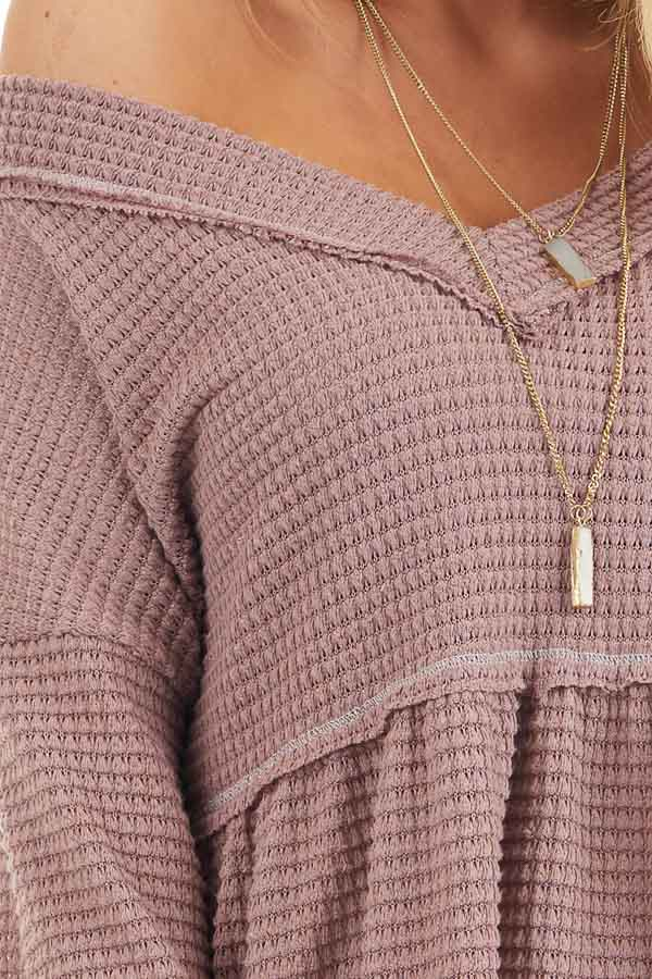 Mauve Drop Waist Waffle Knit Top with Raw Edge Detail detail