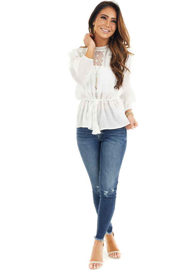 Ivory Long Sleeve Blouse with Drawstring Waist and Lace Yoke front full body