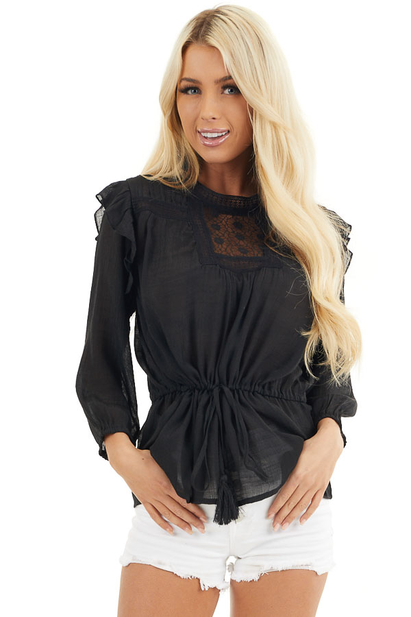 Black Long Sleeve Blouse with Drawstring Waist and Lace Yoke front close up