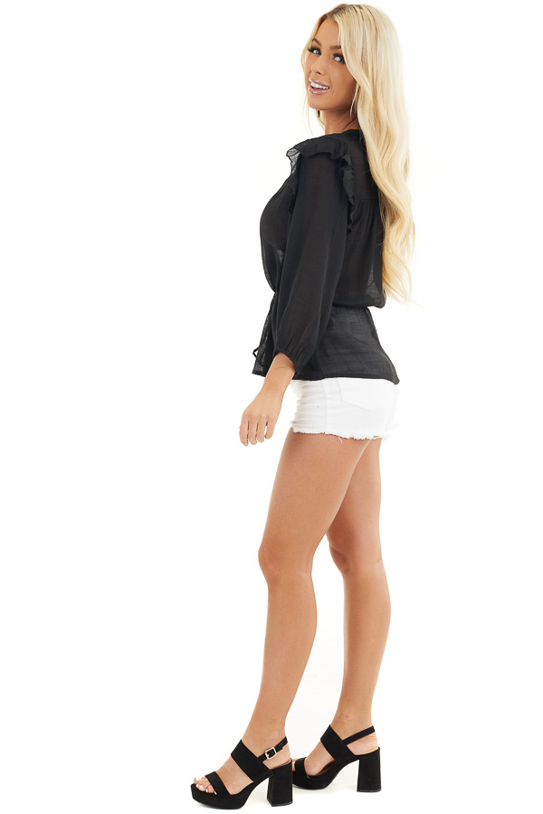 Black Long Sleeve Blouse with Drawstring Waist and Lace Yoke side full body