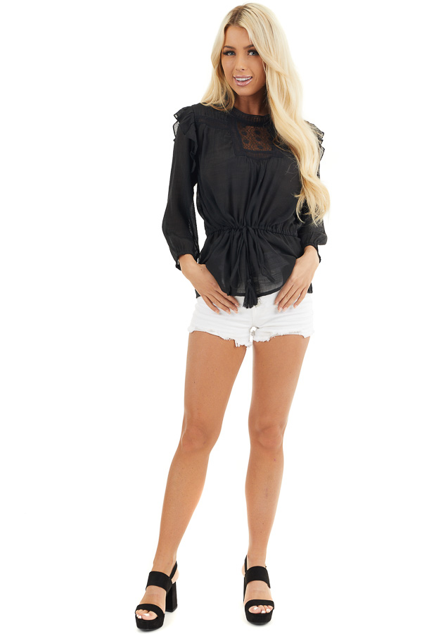 Black Long Sleeve Blouse with Drawstring Waist and Lace Yoke front full body