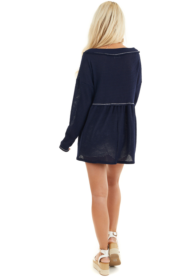 Navy Drop Waist Waffle Knit Top with Raw Edge Detail back full body
