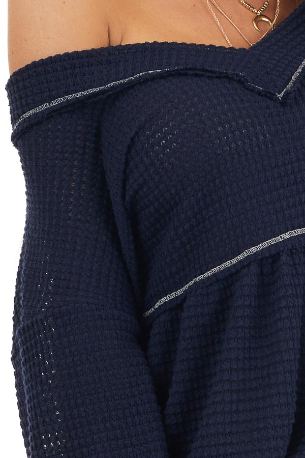Navy Drop Waist Waffle Knit Top with Raw Edge Detail detail