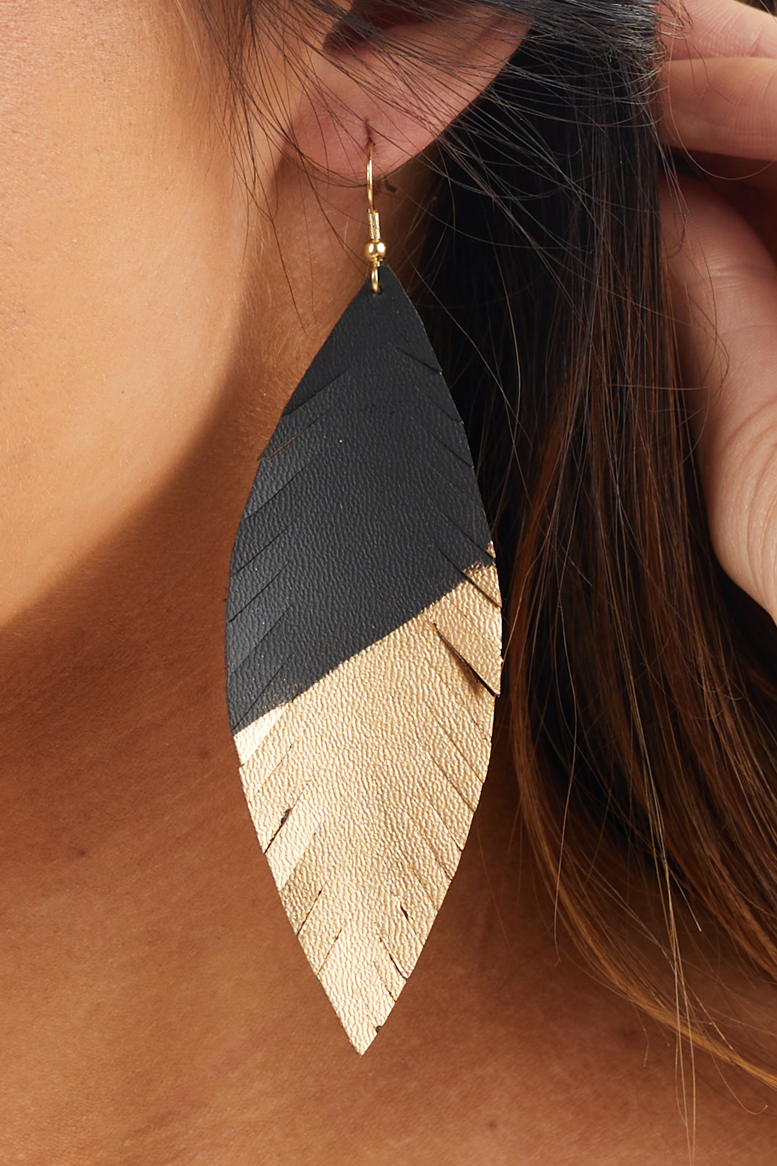 Black and Gold Faux Leather Feather Dangle Earrings