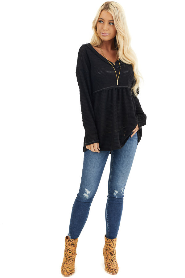 Black Drop Waist Waffle Knit Top with Raw Edge Detail front full body