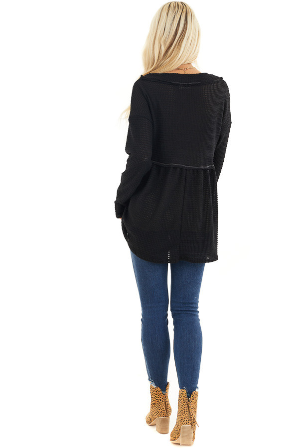 Black Drop Waist Waffle Knit Top with Raw Edge Detail back full body