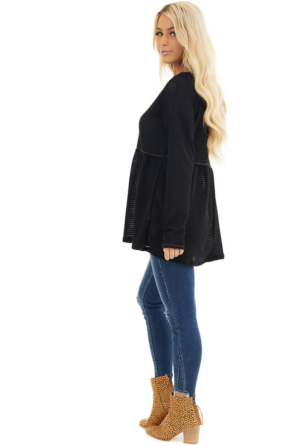 Black Drop Waist Waffle Knit Top with Raw Edge Detail side full body