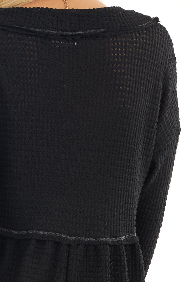 Black Drop Waist Waffle Knit Top with Raw Edge Detail detail