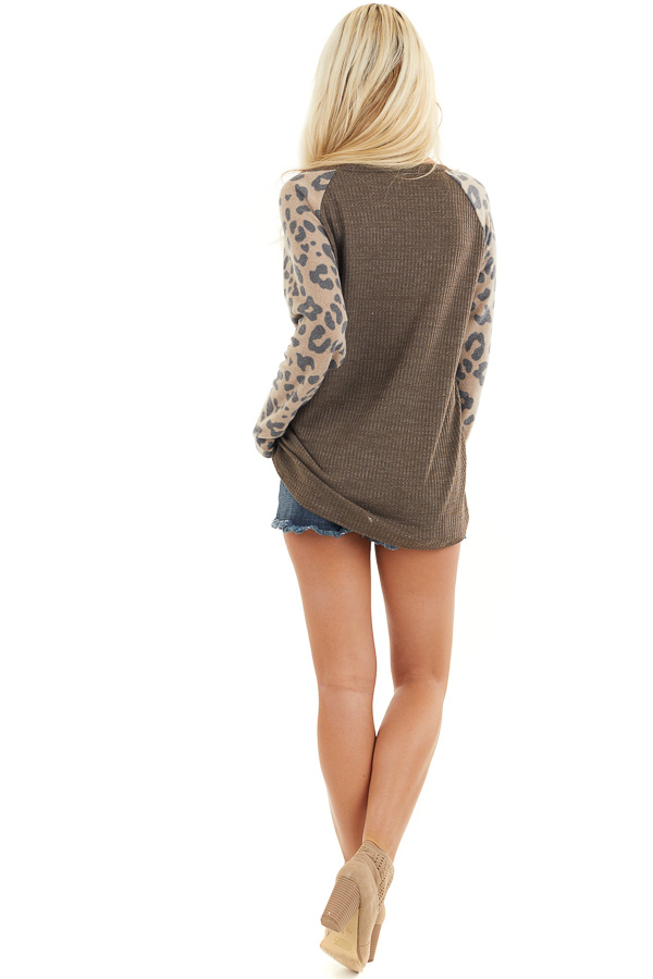 Chocolate Waffle Knit Top with Leopard Print Contrast back full body