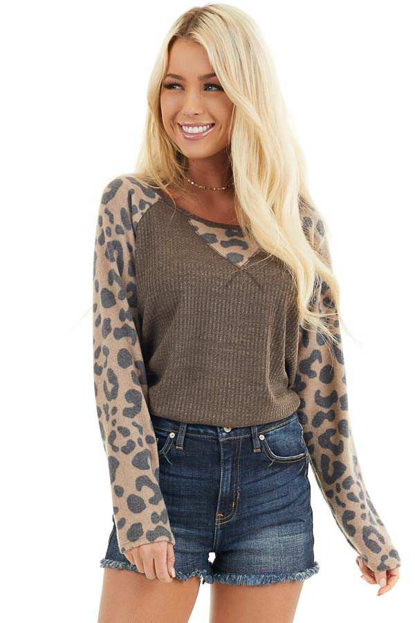 Chocolate Waffle Knit Top with Leopard Print Contrast front close up