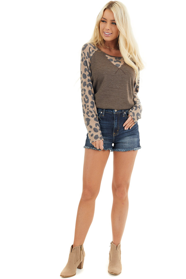 Chocolate Waffle Knit Top with Leopard Print Contrast front full body