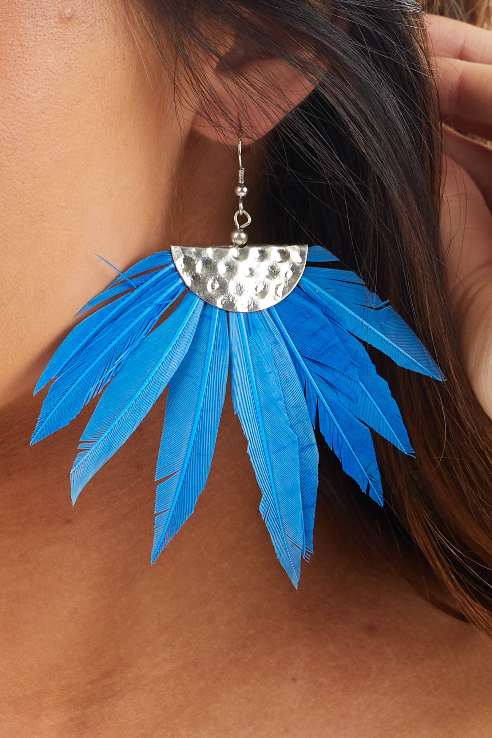Cerulean Feather Dangle Earrings with Silver Stamped Detail