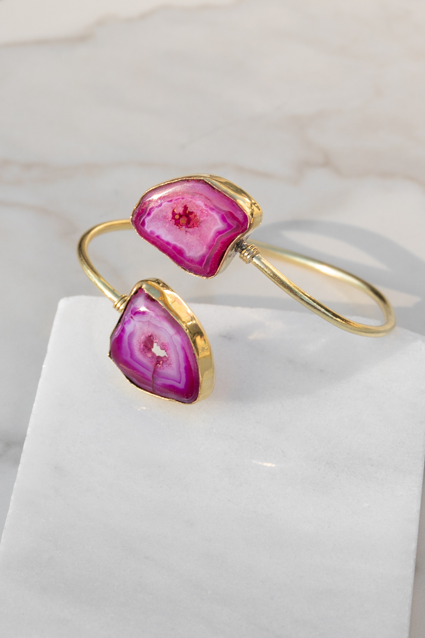 Gold Adjustable Bracelet with Fuchsia Stone Details