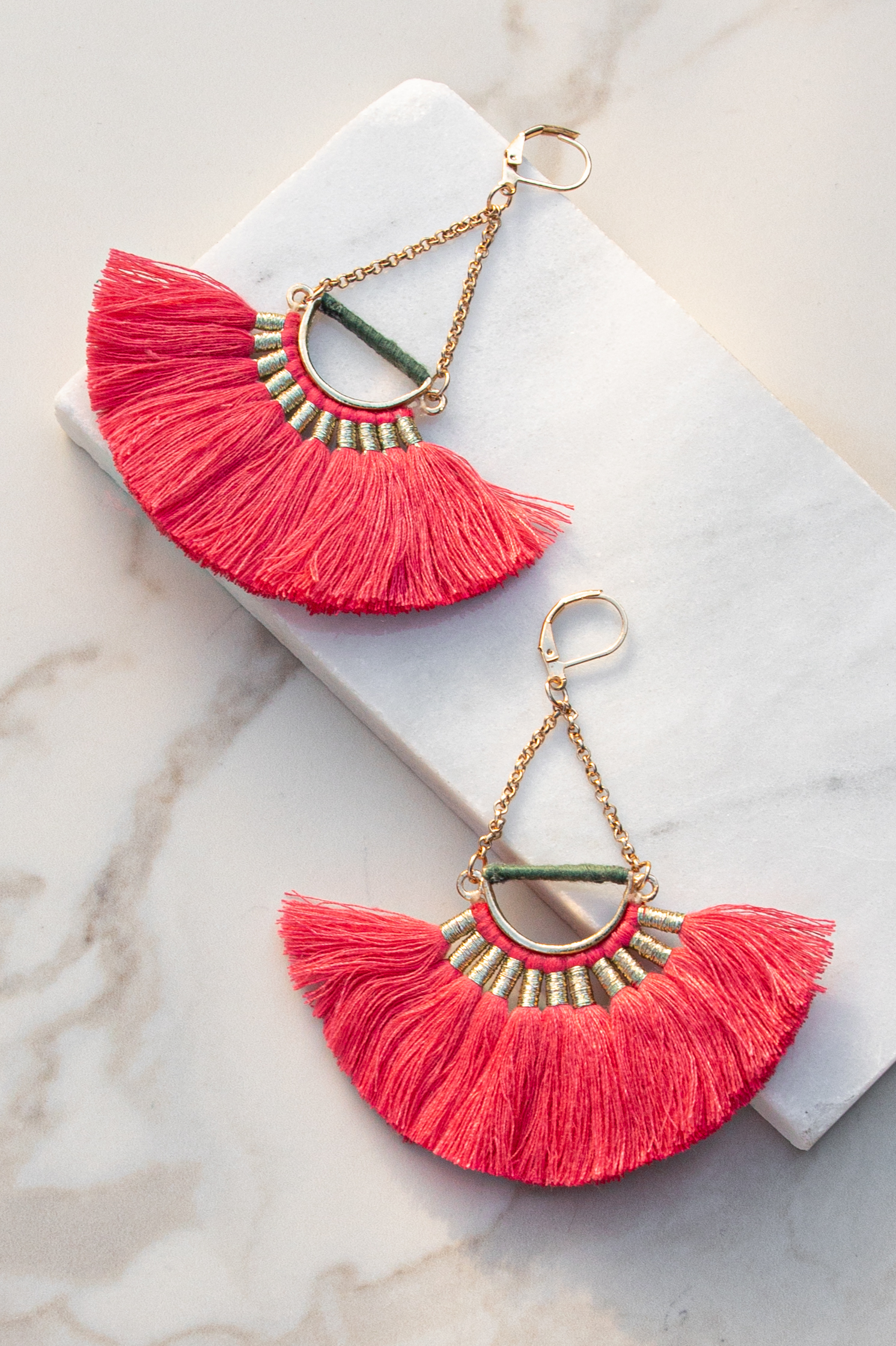 Gold and Coral Chandelier Earrings with Fringe
