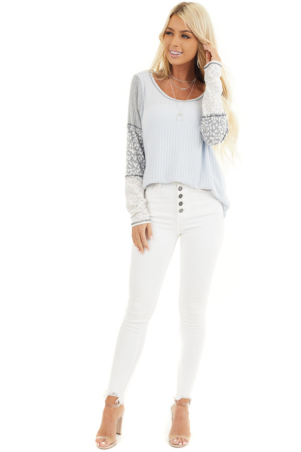 Baby Blue Knit Top with Long Multiprint Sleeves front full body