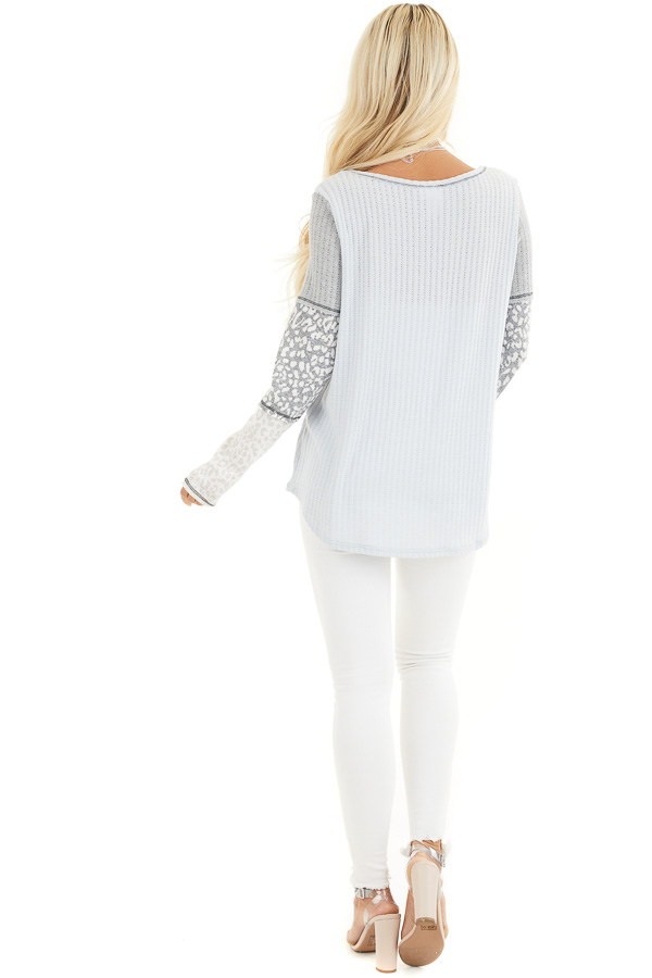 Baby Blue Knit Top with Long Multiprint Sleeves side full body