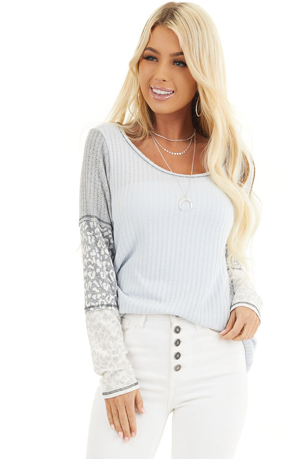Baby Blue Knit Top with Long Multiprint Sleeves front close up