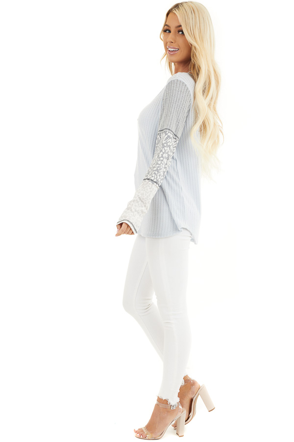 Baby Blue Knit Top with Long Multiprint Sleeves back full body