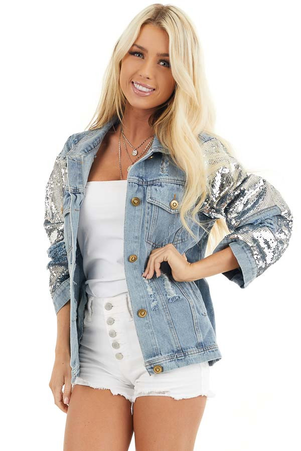 Light Wash Distressed Denim Jacket with Sequin Sleeves front close up
