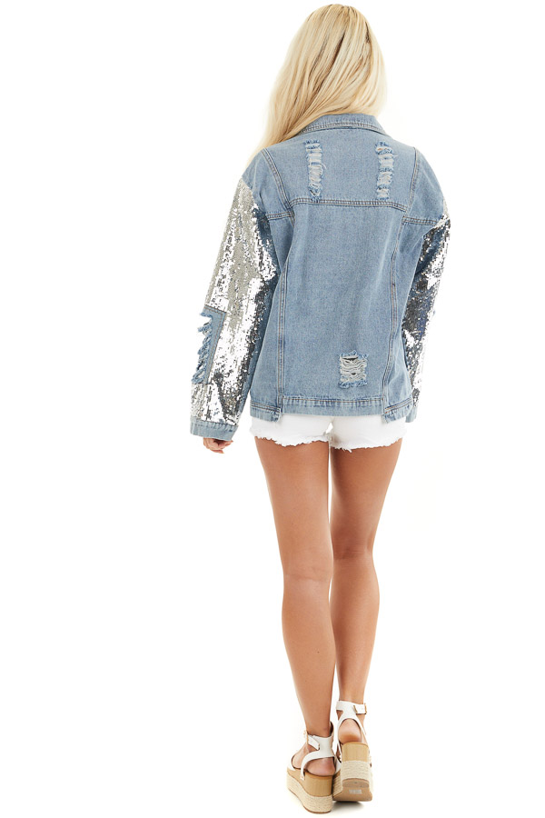 Light Wash Distressed Denim Jacket with Sequin Sleeves back full body