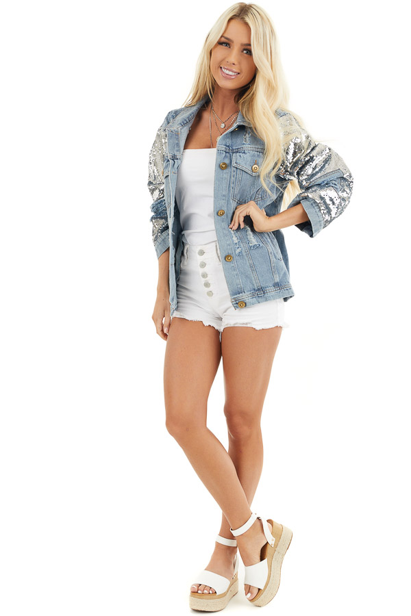 Light Wash Distressed Denim Jacket with Sequin Sleeves front full body