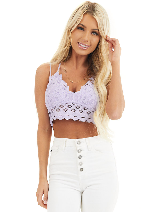 Lilac Floral Lace Bralette with Criss Cross Straps front close up