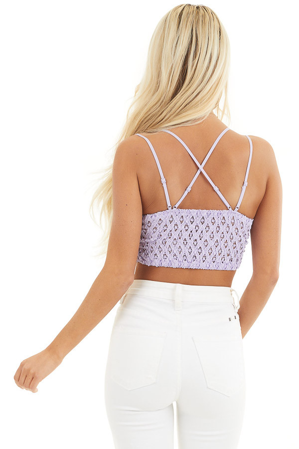 Lilac Floral Lace Bralette with Criss Cross Straps back close up