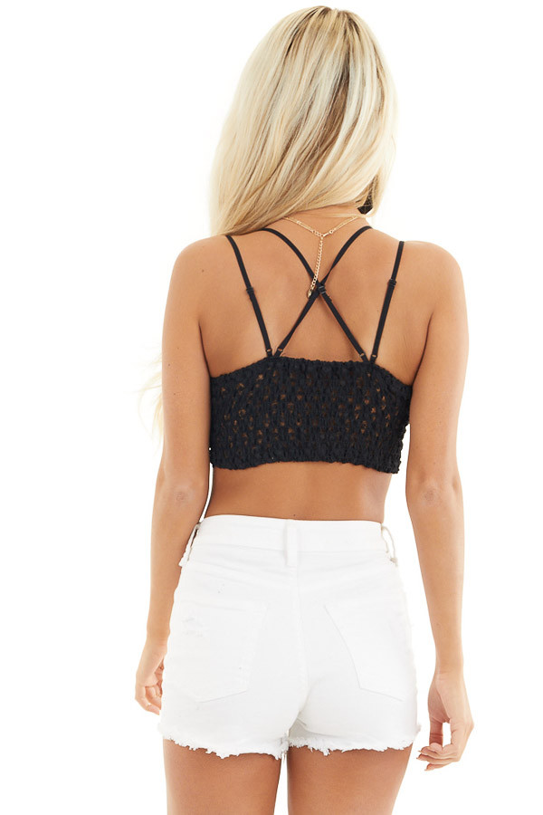 Black Floral Lace Bralette with Criss Cross Straps back close up