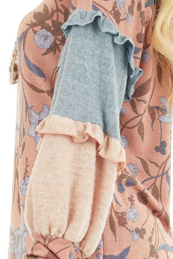 Coral Floral Print Top with Long Multicolor Sleeves detail