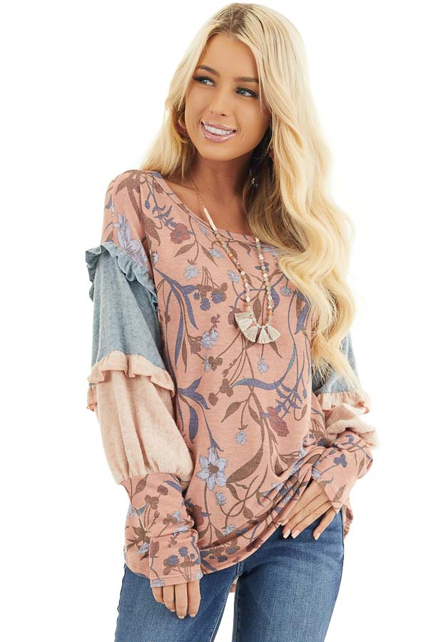Coral Floral Print Top with Long Multicolor Sleeves front close up